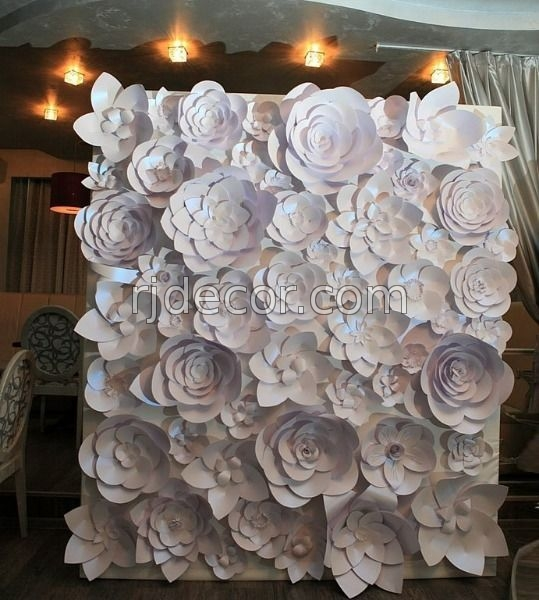 Объемные цветы из белой бумаги